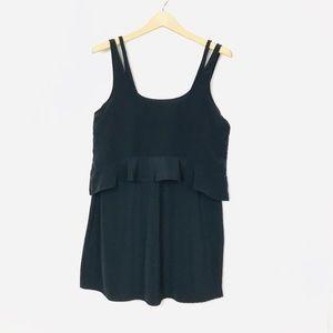 Zara Black Ruffle Detail Dual Layer Tank Dress